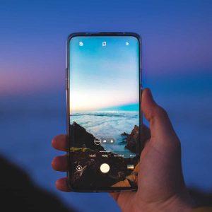 Smartphone em modo de fotografia