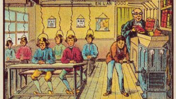 A escola do futuro como vista em 1900. Private Collection/Look and Learn/Bridgeman Images