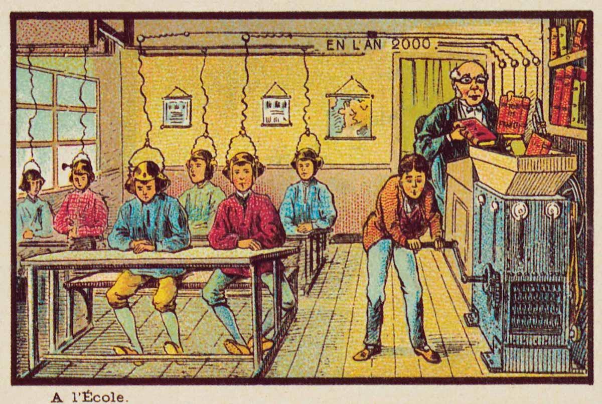 A escola do futuro como vista em 1900. Private Collection/Look and Learn/Bridgeman Images